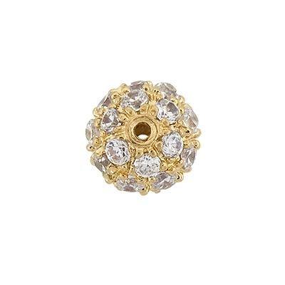 Vermeil 7mm Cubic Zirconia Round Bead