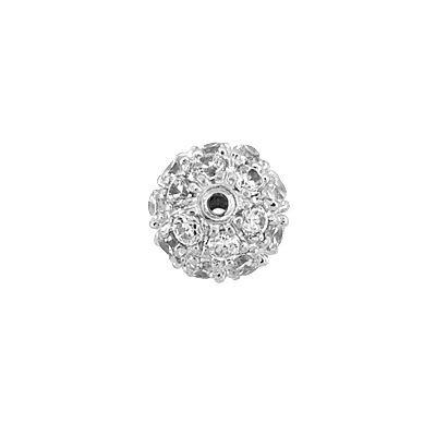 Rhodium Sterling Silver 7mm Cubic Zirconia Round Bead