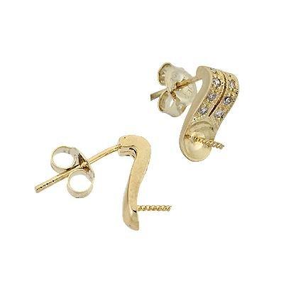 Vermeil 5mmcup Cubic Zirconia Pearl Earring