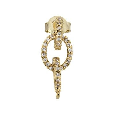 Vermeil 20X8mm Cubic Zirconia Drop Earring With Ring