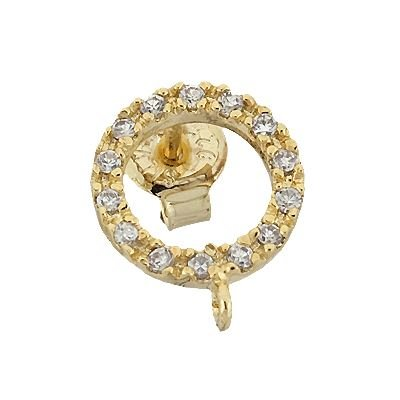 Vermeil 10mm With Ring Cubic Zirconia Stud Circle Earring With Ring