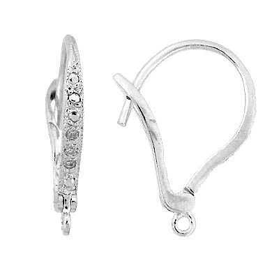 Rhodium Sterling Silver 14x12mm With Ring Cubic Ziirconia Fancy Leverback Earrin