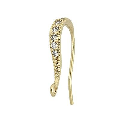 Vermeil Cubic Zirconia Pave Earwire Earring With Ring