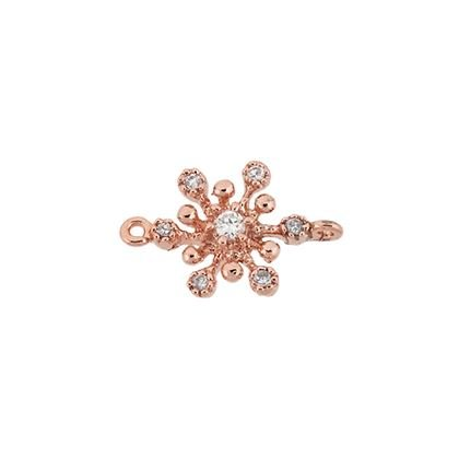 Rose Gold Vermeil 8mm Cubic Zirconia Snowflake Connector