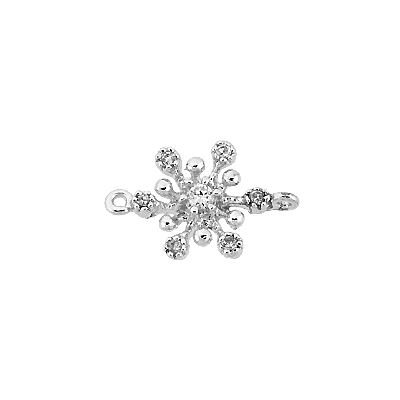 RHODIUM STERLING SILVER 8MM CUBIC ZIRCONIA SNOWFLAKE CONNECTOR