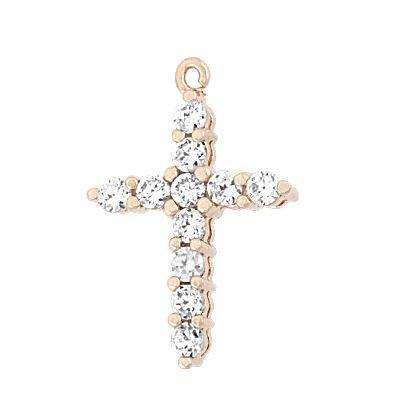 Rose Gold Vermeil 19X14mm Cubic Zirconia Cross Charm