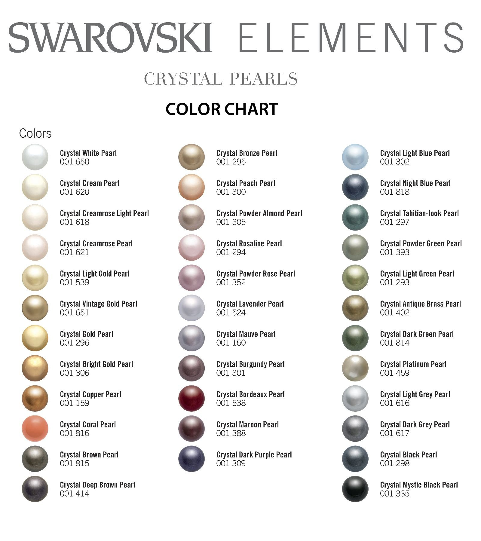 Crystal Pearl Color Chart