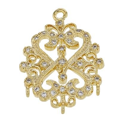Vermeil 20X15mm With Ring Cubic Zironia Filigree Connector