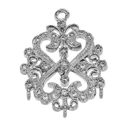 Rhodium Sterling Silver 20X15mm With Ring Cubic Zironia Filigree Connector