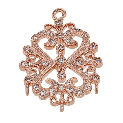 ROSE GOLD VERMEIL 20X15MM WITH RING CUBIC ZIRONIA FILIGREE CONNECTOR