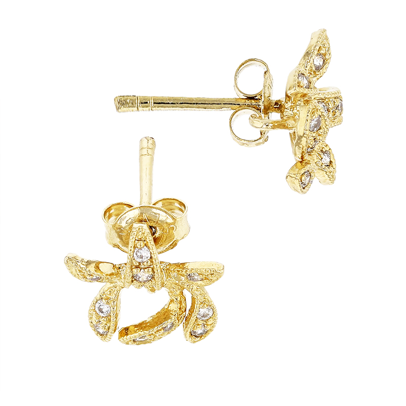 Gold Plated 10mm With Ring Cubic Zirconia Bow Earring