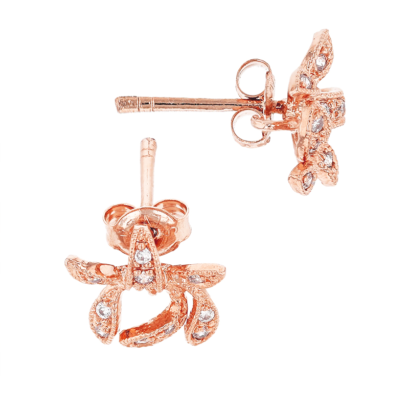 Rose Gold Plated 10mm With Ring Cubic Zirconia Bow Earring