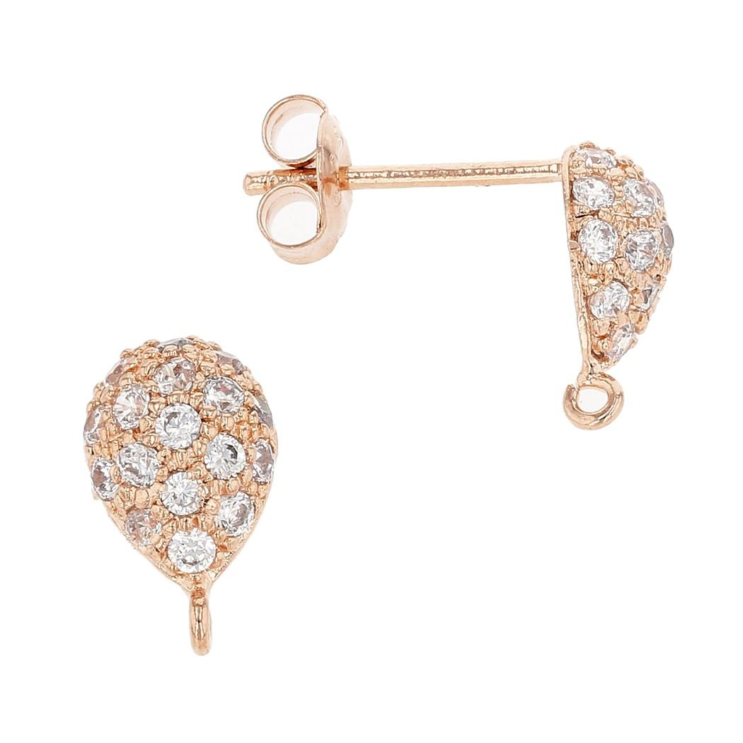 Rose Gold Vermeil 9X6mm With Ring Cubic Zirconia Pear Earring