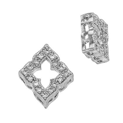 Rhodium Sterling Silver 12X10mm Cubic Zironia Diamond Shape Connector