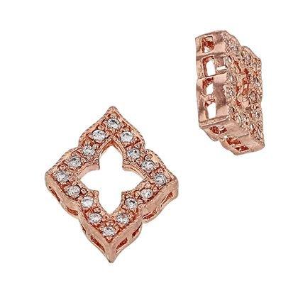 ROSE GOLD VERMEIL 12X10MM CUBIC ZIRONIA DIAMOND SHAPE CONNECTOR