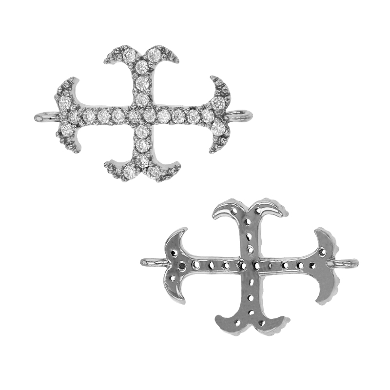 RHODIUM STERLING SILVER 20X12MM CUBIC ZIRCONIA CROSS CONNECTOR