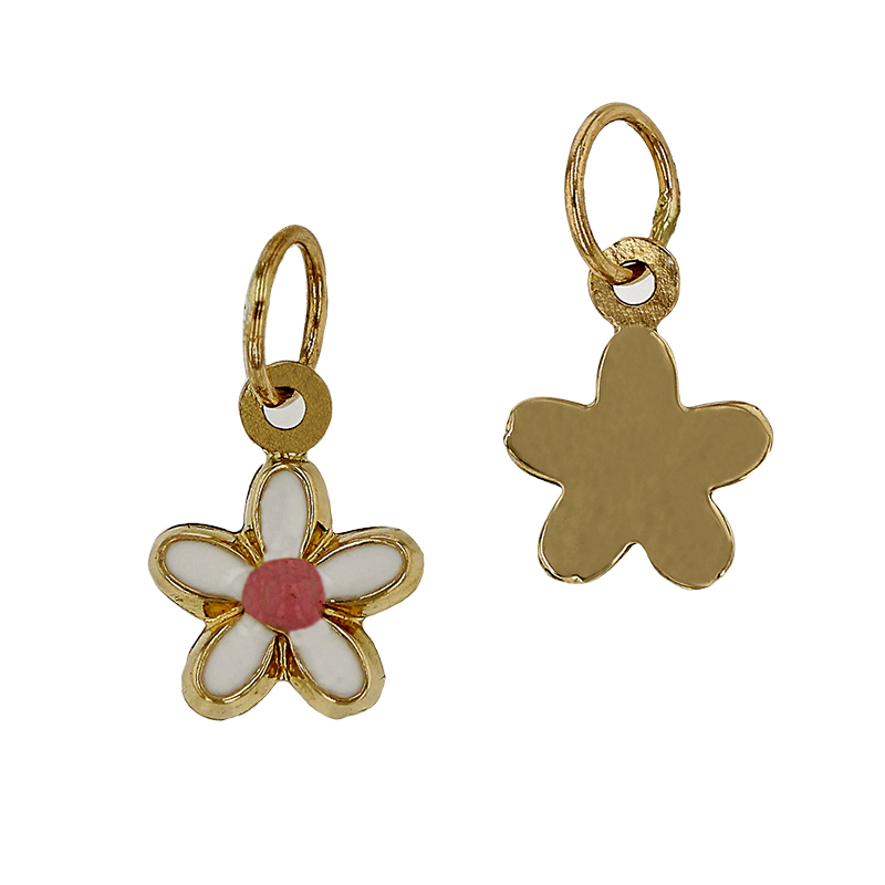 14KY 6MM CHERRY BLOSSOM FLOWER CHARM, PINK