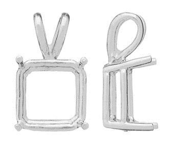 14KW 2MM 4 PRONG SQUARE PENDANT