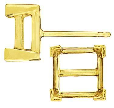 14KY 2MM 7PTS V-END SQUARE EARRING
