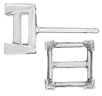 14KW 2MM 7PTS V-END SQUARE EARRING