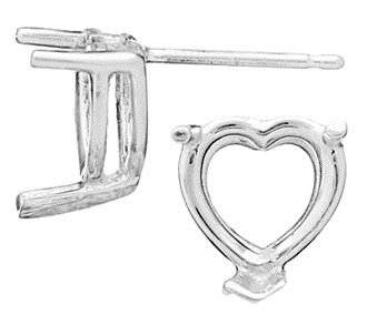 14KW 2X2MM 5PTS V-END HEART EARRING