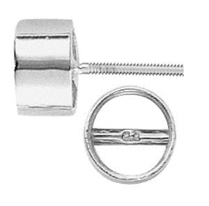 14KW 2MM 5PTS TUBE BEZEL EARRING WITH BEARING WITH SCREW POST