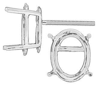 14KW 4X3mm Standard 4 Prong Oval Earring Screw Post
