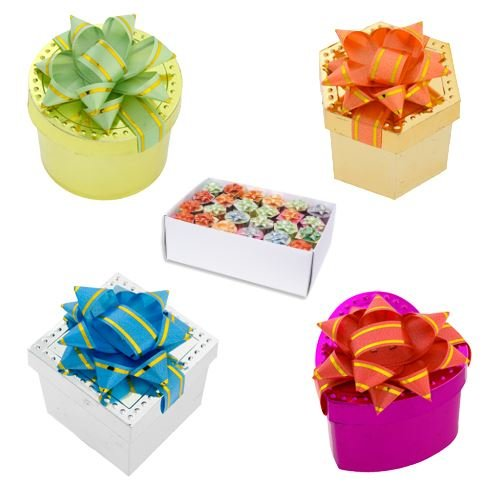ASSORTED COLOR DOTTED EDGE METALLIC WRAPPED RING BOX